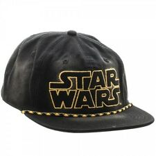 STAR WARS LOGO WASHED UNSTRUCTURED 6 PANEL SNAPBACK HAT CAP ADJUSTABLE RETRO BLK