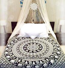 Mandala De Elefantes Hippie Tapiz Decoración Pared Colcha Queen Bohemia Arte
