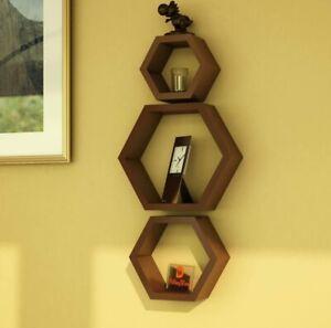 Hexagon wall shelf, Set of 3 Floating Hexagon wall Shelf (BROWN)