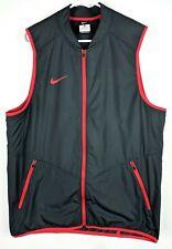Nike Track Vest Mens SzM Medium Running Gray Red Workout Light Full Zip Up Coat