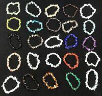 Crystal Chip Bead Gemstone Bracelet New Age Healing Chakra Reiki 7.5'' UK