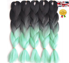 "New 24"" Black & Mint Green Ombre Dip Dye Kanekalon Braiding Hair Extensions UK"