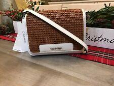 Calvin Klein Clara Flap Over Crossbody Bag Espresso Braided Finish