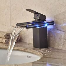 Waterfall LED Bathroom Black Glass&Brass Basin Mixer Tap Single Handle Faucet