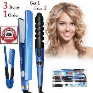 3 in 1 Professional 450F Nano Titanium Hair Iron Straightening & Curlering Iron