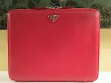 NEW AUTHENTIC PRADA RED SAFFIANO LEATHER ZIP IPAD CASE COVER MADE IN ITALY