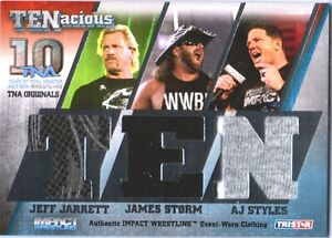 TNA Jarrett Storm AJ Styles 2012 TENacious SILVER Triple Relic Card SN 22 / 100