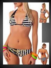 sexy Bikini Beachwear Neckholder Streifen schwarz weiß B/C 38 40 (555)