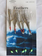 25 Packs Silver Flash 5 hook size 1/0 fishing mackerel feathers lure sea pollack