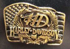 11612 HARLEY DAVIDSON PIN BADGE BRASS USA AMERICAN FLAG EAGLES MOTORCYCLE BIKE