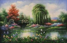 Quality Hand Painted Oil Painting The Lily Pond with Willow 24x36in