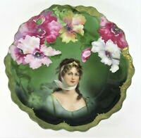 ANTIQUE Zeh Scherzer & Co. Bavaria QUEEN LOUISE of PRUSSIA Portrait Plate w/Gilt