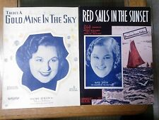Kate Smith x 2 Sheet Music Red Sails In The Sunset & Gold Mine In The Sky 1935/7