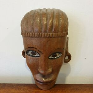 A Vintage Egyptian Carved Wooden Decorative Wall Hanging Head Mask