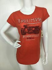 Lucky Brand Women's Orange Triumph Motorcycle Short Sleeve Tee T-Shirt Top L NWT