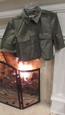 Equipment Femme Cropped Short Sleeve Signature Dusty Olive Sz M $148.00