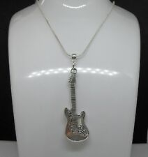 Sterling Silver necklace with Large Guitar Charm