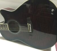 IBANEZ Acoustic/Electric Guitar Red Quilted Maple Top/Arch AEF37-TCS-OP-01 #D606