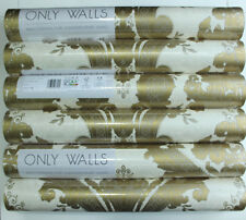 6 Rollen edle Damasktapete Only Walls Crystal OW 00116 Creme-Gold-Taupe Vlies