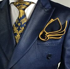 Pocket Square Handmade Navy Blue And Gold Stitched Borders By Squaretrapny.com