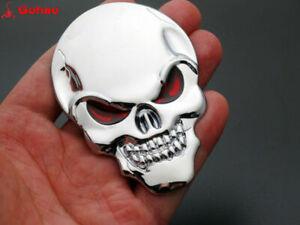"""Metal 3"""" 3D Full Stainless Steel Emblem Skull/Skeleton/Reaper Sticker Chrome+Red"""