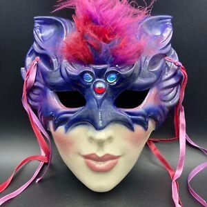 1991 Porcelain Cat Mardi Gras Mask Venetian Masquerade San Fransisco USA Signed