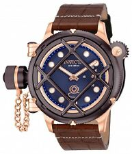 New Men's Invicta 16172 Russian Diver Swiss Mechanical Blue Dial Leather Watch