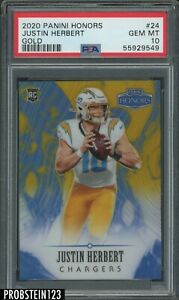 2020 Panini Honors Gold #24 Justin Herbert Chargers RC Rookie 5/5 PSA 10