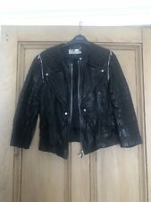 Karen Millen Black Leather Biker Jacket Size 14
