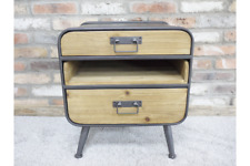 55cm Tall Industrial Style Wood & Metal Bedside Cabinet