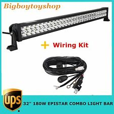32in 180W LED Work Light Bar Spot Flood Combo Jeep Off-road Driving Lamp+ Wiring