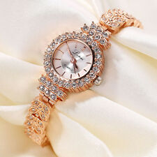 Bling Women Leaf Bracelet Stainless Steel Crystal Dial Analog Quartz Wrist Watch