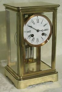 A HANDSOME VICTORIAN 1880 4 GLASS LIBRARY CLOCK COMPENSATING PENDULUM PWO & VGC