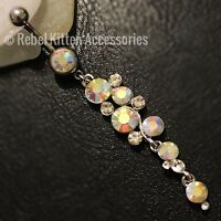 14g Dangle Sparkle Opal Rainbow Boho  Belly Button Navel Ring Piercing