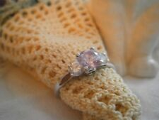 Beautiful Vintage QVC  Sterling Silver Pink Diamonique Ring, size R