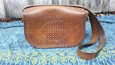 Vintage Tan Leather Tooled Messenger Bag