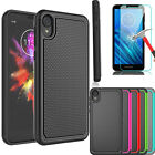 For Motorola Moto E6 Shockproof Case Cover + Tempered Glass Screen Protector