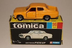 TOMICA POCKET CARS #96 DATSUN PICKUP TRUCK, YELLOW, EXCELLENT, BOXED