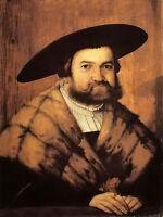 Oil painting christoph amberger - goldsmith jorg zurer of augsburg man figures