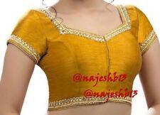 Readymade Saree Blouse, Designer Sari blouse,Mustard Kundan Work Indian Sari Top