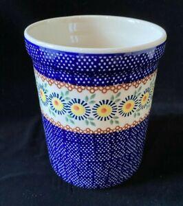 "Boleslawiec Polish Pottery Canister Utensil Holder Crock 6.75"" Blue Floral"