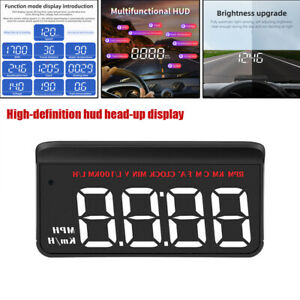 Auto High-definition HUD Head-up Display M5 Projector Car Universal KM/H RPM MPH