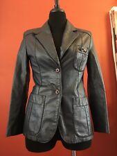 Etienne Aigner Women's Size 10P BLUE Leather Jacket Coat GOLD LOGO BUTTER SOFT
