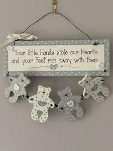 New Baby Boy Girl Nursery Decor Wall Hanging Plaque Grey Beige Polka Dot 4 Bears