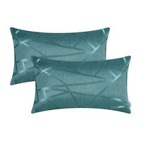 "2Pcs Teal Cushion Cover Bolster Pillow Sofa Decor Geometric Abstract Line 12x20"""