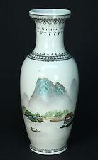 "*ea.1900's Signed Chinese Fine White Porcelain Hand Painted Flower Vase 10.25"""