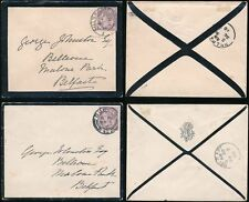 IRELAND 1898 MOURNING ENVELOPES to JOHNSTON BELFAST..MONOGRAM + BALLS BRIDGE PMK