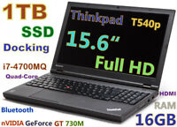 # 3D Design Thinkpad T540p i7-Quad 1TB SSD DVDRW 16GB 15.6 FHD nVIDIA & Docking
