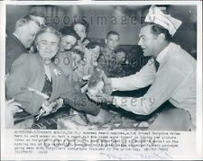 1956 Actor Ernest Borgnine Peddles Meat in Santa Monica CA Store Press Photo