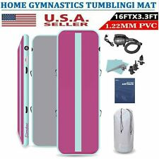 Airtrack Inflatable Air Track Floor Home Gymnastics Tumbling Mat Gym + Pump 16Ft